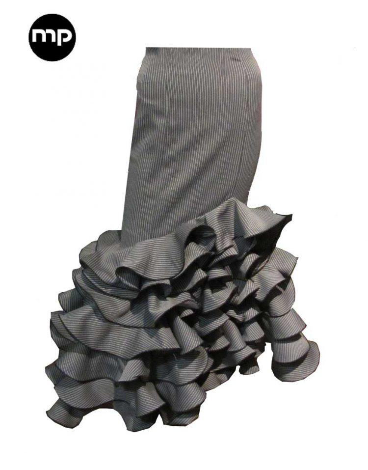 falda rociera gris